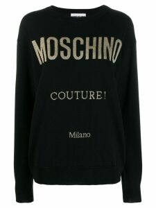 Moschino glitter logo print jumper - Black