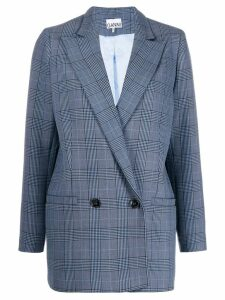 Ganni double-breasted fitted blazer - Blue