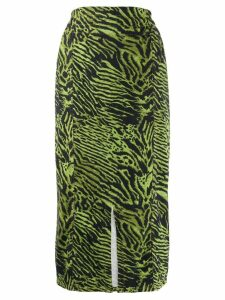 GANNI printed midi skirt - Green