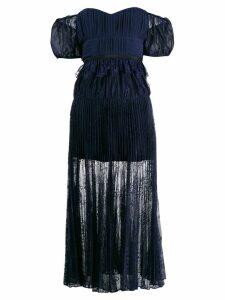 Self-Portrait off shoulder floral scallop dress - Blue