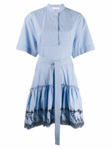 Chloé embroidered shirt dress - Blue