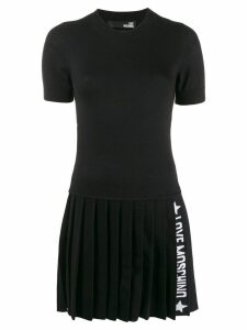 Love Moschino knitted logo stripe dress - Black