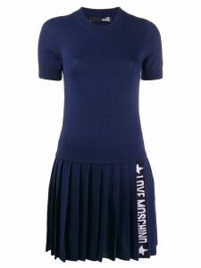 Love Moschino knitted logo stripe dress - Blue