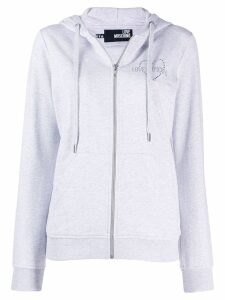 Love Moschino embellished logo hoodie - Grey