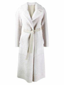 Blancha reversible belted oversized coat - White