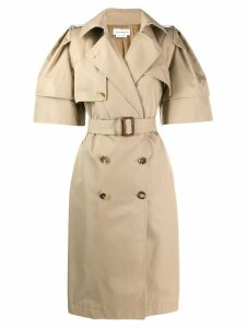 Alexander McQueen wild short sleeve trench coat - Neutrals
