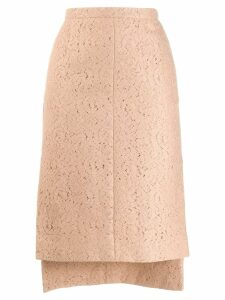 Nº21 floral lace asymmetric pencil skirt - Neutrals