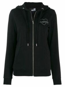 Love Moschino zip front logo hoodie - Black
