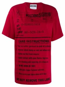 Moschino care label print T-shirt - Red