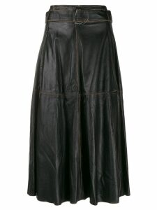 Golden Goose akemi leather A-line high waist skirt - Black