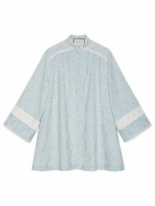 Gucci GG embroidered denim dress with lace - Blue