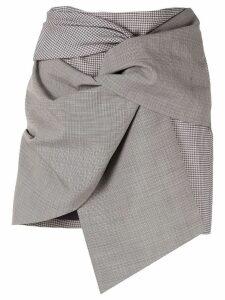 Acler Houndstooth asymmetric mini skirt - Grey