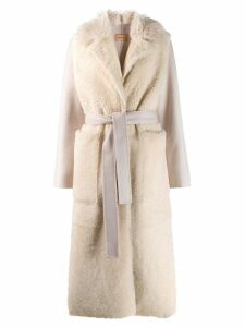 Yves Salomon fur panel robe coat - Neutrals