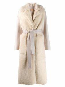 Yves Salomon fur panel robe coat - Neutrals