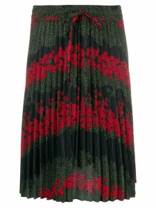 Red Valentino floral print pleated skirt - Black