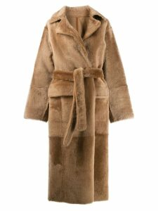 Yves Salomon Lacon lambskin coat - Neutrals