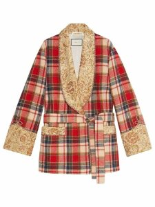Gucci Check wool jacket with embroidery - Red