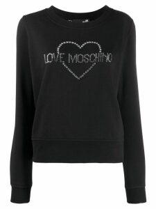 Love Moschino crystal embellished logo jumper - Black