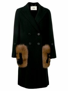 Fendi fur detail overcoat - Black