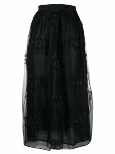 Pinko embroidered tulle midi skirt - Black