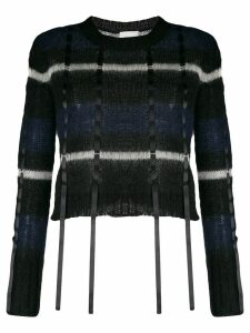 3.1 Phillip Lim striped ribbon knitted top - Black