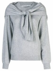 Alexander Wang knot shoulder knitted top - Grey