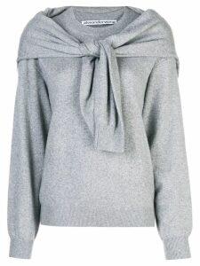 Alexander Wang knot shoulder knitted top - Grey