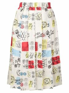 Marni sketch print skirt - Neutrals