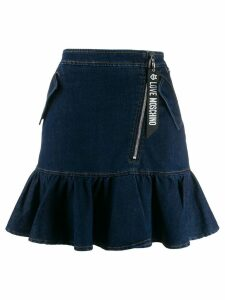 Love Moschino ruffled hem denim skirt - Blue