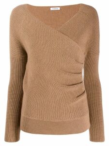 P.A.R.O.S.H. wrap-style knitted sweater - Brown