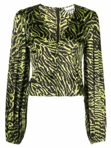 Ganni tiger print blouse - Green