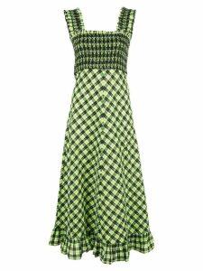 Ganni checked a-line dress - Green
