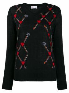 Red Valentino jacquard heart knit sweater - Black