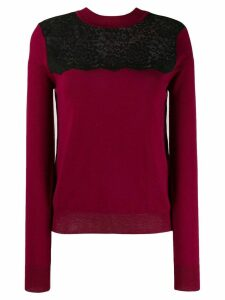 Mulberry lace panel sweater - Red