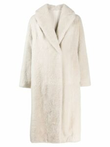 Brunello Cucinelli midi fur coat - Neutrals