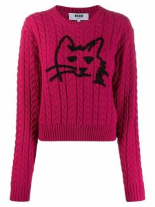 MSGM cable knit cat sweater - Pink