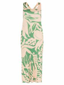 Pleats Please Issey Miyake Swimming-print plissé midi dress - 62 GREEN