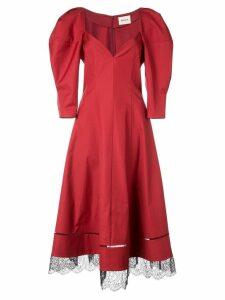 Khaite lace hem midi dress - Red