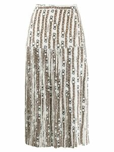 Salvatore Ferragamo pleated midi skirt - White