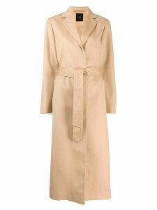 Agnona long belted coat - Brown