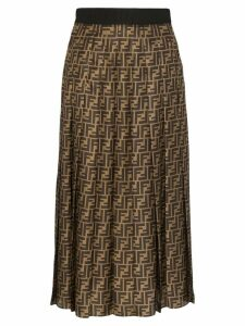 Fendi FF pleated midi skirt - Brown