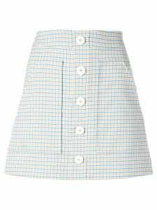 Veronica Beard plaid button skirt - Blue