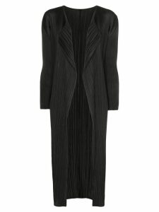 Pleats Please Issey Miyake pleated open coat - Black