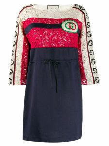 Gucci shortGG embroidered patch striped dress - Blue