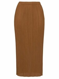 Pleats Please Issey Miyake pleated midi skirt - Brown