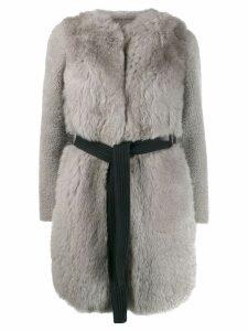 Blancha belted fur coat - Grey