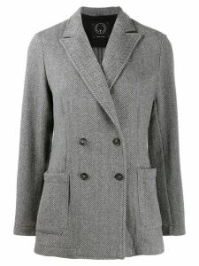 T Jacket double-breasted fitted blazer - Grey