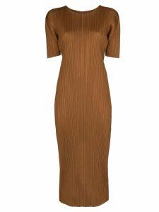 Pleats Please By Issey Miyake pleated midi dress - Brown