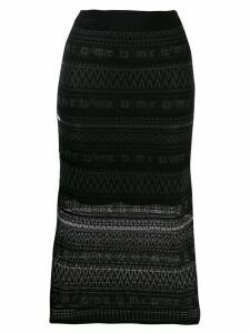 McQ Alexander McQueen patterned knit pencil skirt - Black
