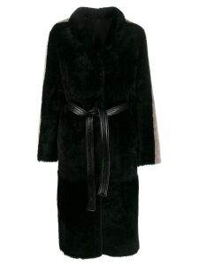 Blancha side-stripe belted coat - Black